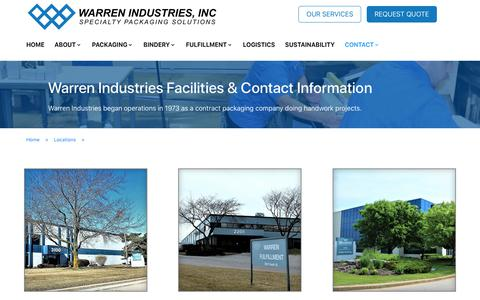 Screenshot of Locations Page wrnind.com - Locations - Warren Industries - captured Oct. 18, 2018
