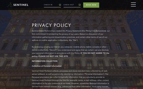 Screenshot of Privacy Page sentinelhotel.com - Privacy Policy   Sentinel - captured Sept. 21, 2018