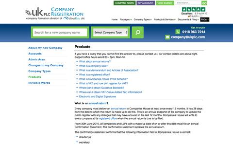 Screenshot of Products Page ukplc.com - FAQ about our Company Formation Products | @UKplc - captured Jan. 13, 2017