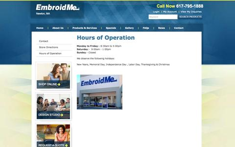 Screenshot of Hours Page embroidme-newton.com - Hours of Operation | EmbroidMe - captured Sept. 29, 2014