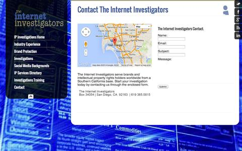 Screenshot of Contact Page theinternetinvestigators.com - Contact The Internet Investigators - The Internet Investigators - captured Sept. 26, 2014
