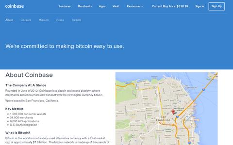Screenshot of About Page coinbase.com - About Coinbase - captured July 20, 2014