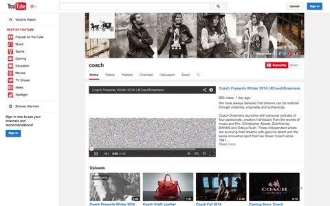 Screenshot of YouTube Page youtube.com - coach  - YouTube - captured Oct. 26, 2014