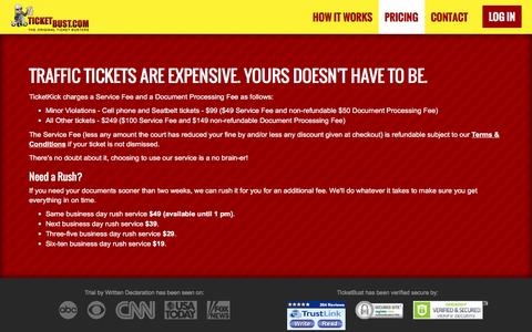 Screenshot of Pricing Page ticketbust.com - TicketBust - captured Oct. 20, 2016