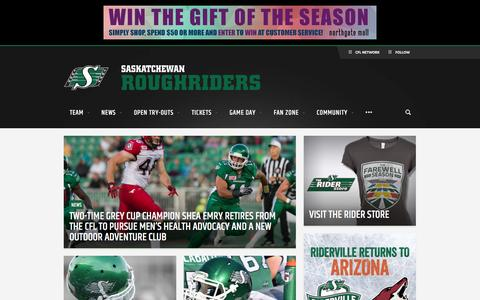 Screenshot of Home Page riderville.com - Saskatchewan Roughriders - Official site - captured Feb. 4, 2016