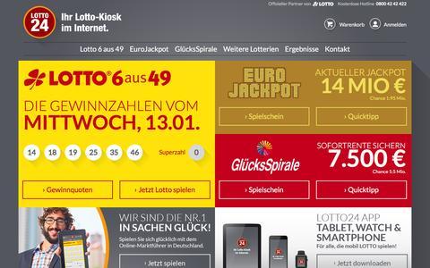 Screenshot of Home Page lotto24.de - Lotto online spielen im Lotto-Kiosk im Internet � Lotto24.de - captured Jan. 13, 2016