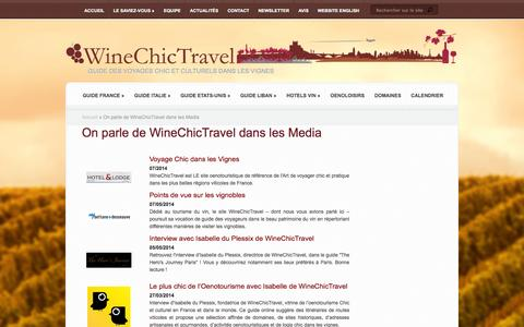 Screenshot of Press Page winechictravel.fr - WineChicTravel dans les Media | Wine Chic Travel - captured Oct. 26, 2014