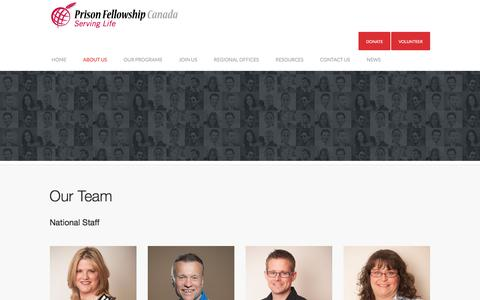 Screenshot of Team Page prisonfellowship.ca - Our Team - Prison Fellowship Canada - captured Jan. 31, 2016