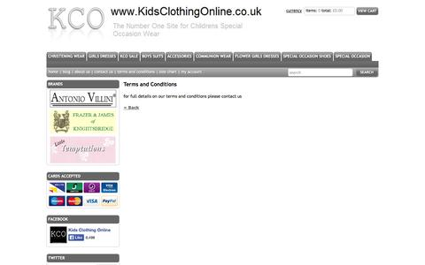 Screenshot of Terms Page kidsclothingonline.co.uk - Kids Clothing Online (KCO) google0720f16937905be2.html - captured Oct. 6, 2014