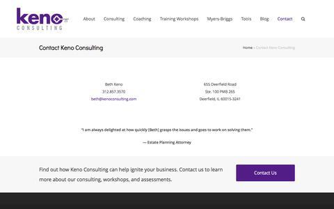 Screenshot of Contact Page kenoconsulting.com - Contact Keno Consulting - Keno Consulting - captured Feb. 12, 2016