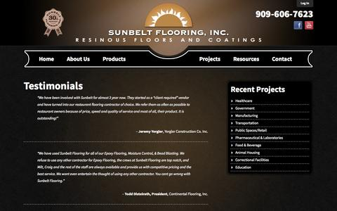 Screenshot of Testimonials Page sunbeltflooring.com - Sunbelt Flooring | Testimonials - captured Oct. 7, 2014