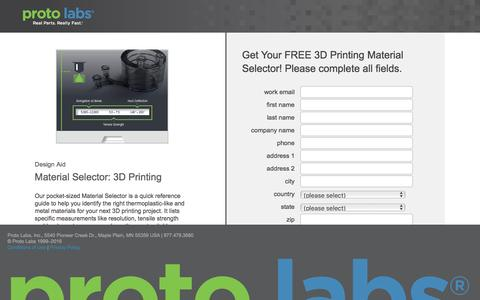 Screenshot of Landing Page protolabs.com - Get Your Free Material Selector: 3D Printing - captured Aug. 9, 2016