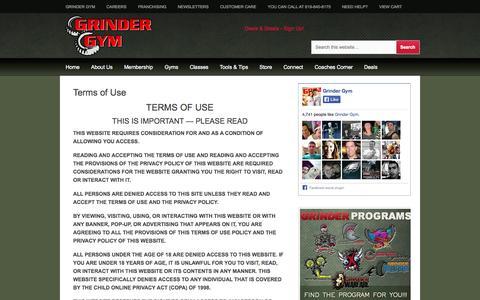 Screenshot of Terms Page grindergym.com - Terms of Use - captured Sept. 30, 2014