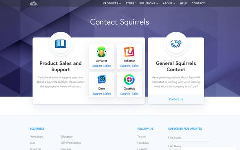 Screenshot of Contact Page airsquirrels.com - Squirrels Contact Options - captured June 20, 2019