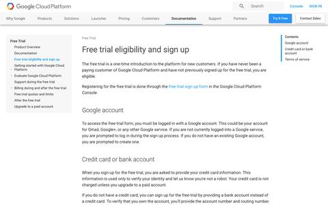 Screenshot of Trial Page google.com - Free trial eligibility and sign up | Free Trial       | Google Cloud Platform - captured Jan. 5, 2017