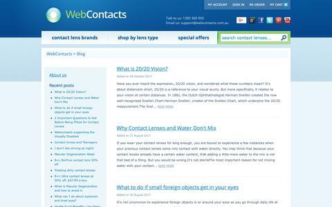 Screenshot of Blog webcontacts.com.au - Contact lens and Eyecare Blog - captured Nov. 7, 2018