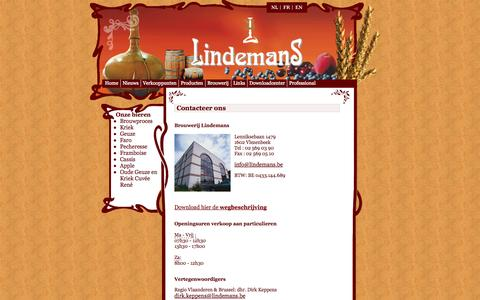 Screenshot of Contact Page lindemans.be - Contacteer brouwerij Lindemans - captured Oct. 8, 2014