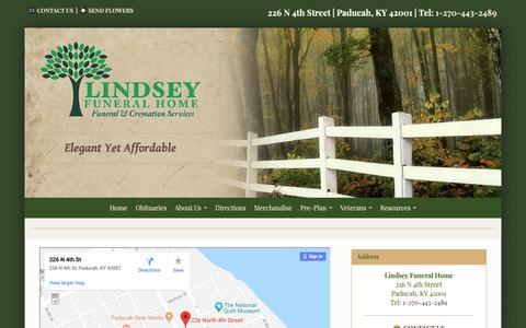 Screenshot of Maps & Directions Page lindseyfuneral.com - Directions | Lindsey Funeral Home | Paducah KY funeral home and cremation - captured Oct. 25, 2018