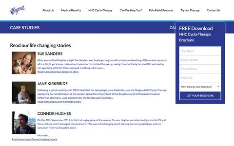 Screenshot of Case Studies Page niagaratherapy.co.uk - Read our customer stories on how NHC Cyclo-Therapy changed their lives - captured Feb. 14, 2016