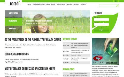 Screenshot of Home Page naredi.be - Naredi - captured Oct. 5, 2014