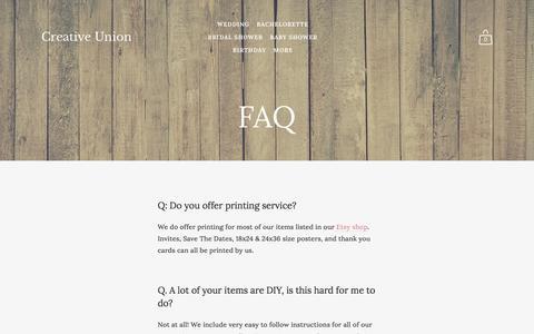 Screenshot of FAQ Page creativeuniondesign.com - Creative Union - FAQ - captured May 23, 2017