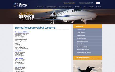 Screenshot of Locations Page barnesaero.com - Barnes Aerospace Global Locations - captured Nov. 4, 2014