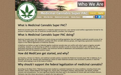 Screenshot of About Page mcsuperpac.org - Who We Are | Medicinal Cannabis Super PAC - captured Oct. 27, 2014
