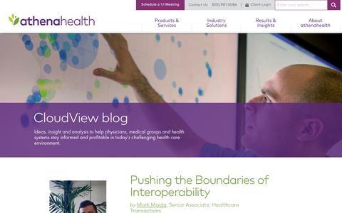 Screenshot of Blog athenahealth.com - athenahealth CloudView Blog - captured April 10, 2017