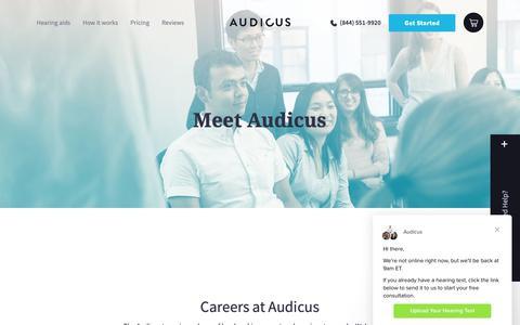 Screenshot of Jobs Page audicus.com - Audicus says… - captured Nov. 4, 2018