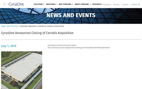 Screenshot of Press Page cyrusone.com - CyrusOne Announces Closing of Cervalis Acquisition - CyrusOne - captured Nov. 27, 2019