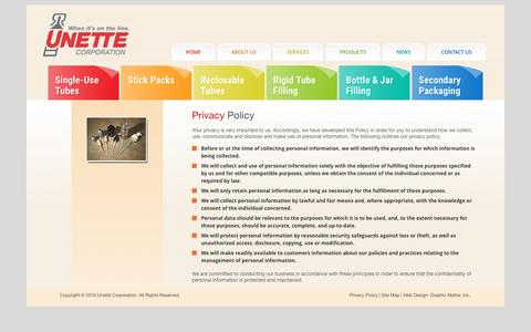 Screenshot of Privacy Page unette.com - Privacy Policy | Unette Corporation - captured Dec. 18, 2016