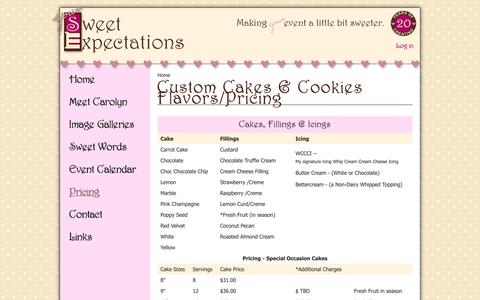 Screenshot of Pricing Page yoursweetexpectations.com - Custom Cakes & Cookies Flavors/Pricing | Your Sweet Expectations - captured Nov. 5, 2014