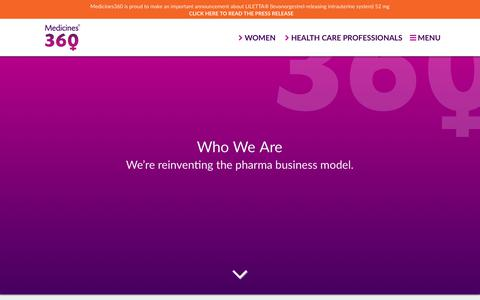 Screenshot of About Page medicines360.org - Who We Are – Medicines360 - captured Nov. 6, 2018