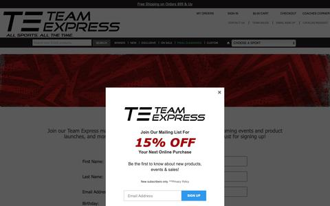 Screenshot of Signup Page teamexpress.com - Team Express - captured Nov. 7, 2018