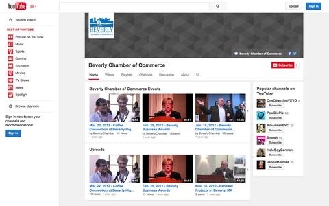 Screenshot of YouTube Page youtube.com - Beverly Chamber of Commerce  - YouTube - captured Oct. 23, 2014