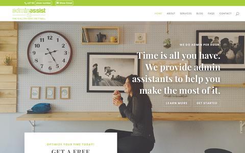 Screenshot of Home Page adminassist.co.za - AdminAssist | Part Time Assistants in Pretoria & Johannesburg, South Africa - AdminAssist - captured July 12, 2018