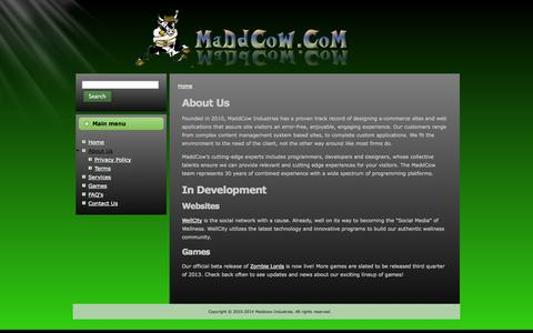 Screenshot of About Page maddcow.com - About Us | maddcow.com - captured Oct. 26, 2014