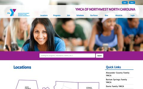 Screenshot of Locations Page ymcanwnc.org - Locations - YMCA of Northwest North Carolina - captured Sept. 29, 2017