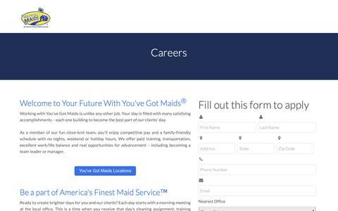 Screenshot of Jobs Page youvegotmaids.com - Careers - captured Oct. 19, 2018