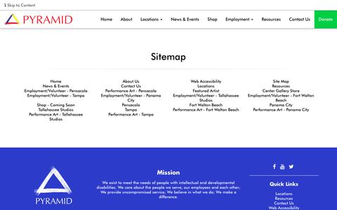 Screenshot of Site Map Page pyramidinc.org - Site Map - captured July 25, 2018
