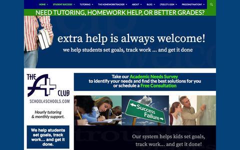 Screenshot of Home Page school4schools.com - Need tutoring, homework help, or better grades? - A+ Club - captured Oct. 4, 2014