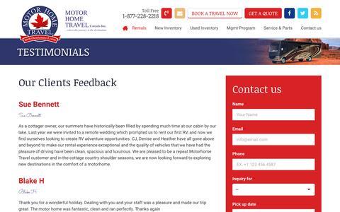 Screenshot of Testimonials Page motorhometravel.com - Testimonials - Motor Home Travel - captured Oct. 18, 2018