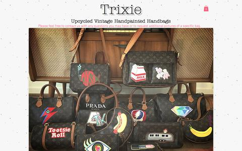 Screenshot of Home Page trixiebags.com - Trixie : Upcycled Vintage Handpainted Handbags - captured July 8, 2018