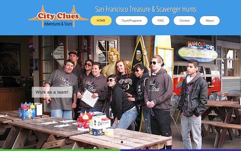 Screenshot of Home Page citycluesadventures.com - City Clues Adventures: Fun San Francisco Tours - captured Sept. 24, 2018
