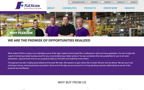 Screenshot of About Page flexcon.com - About Us | Why FLEXcon - FLEXcon - captured Nov. 6, 2018
