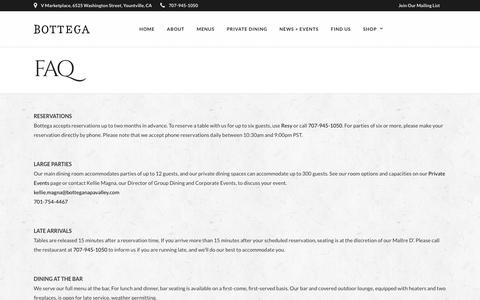Screenshot of FAQ Page botteganapavalley.com - FAQ – Bottega Napa Valley - captured Oct. 6, 2018