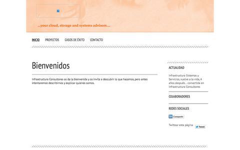 Screenshot of Home Page infraxtructura.es - Inicio - Infraxtructura Consultores - Especialistas en diseño de soluciones de Cloud Híbrida - captured Oct. 6, 2014