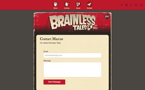 Screenshot of Contact Page brainlesstales.com - Contact Brainless Tales - captured Oct. 30, 2014