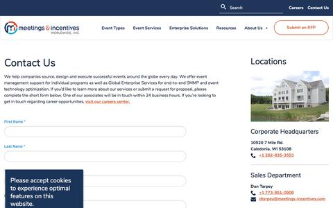 Screenshot of Contact Page meetings-incentives.com - Contact Us | Meetings & Incentives Worldwide - captured Oct. 21, 2019
