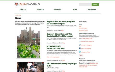 Screenshot of Press Page nysunworks.org - New York Sun Works: News - captured Feb. 14, 2016